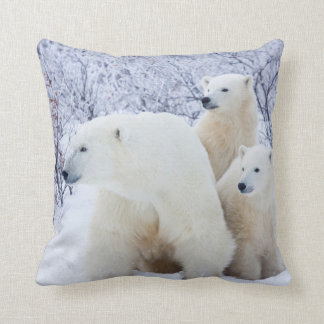 Polar Bears and Two cubs Throw Pillow