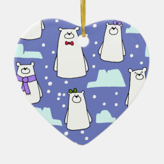 polar bears ceramic heart decoration
