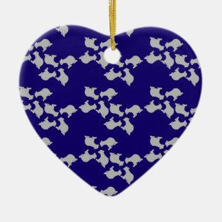 Polar bears ceramic heart decoration