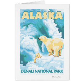 Polar Bears & Cub - Denali National Park, Alaska Card