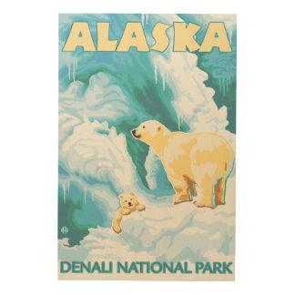 Polar Bears & Cub - Denali National Park, Alaska Wood Wall Art