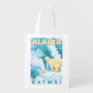 Polar Bears & Cub - Katmai, Alaska