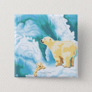 Polar Bears & Cub - Katmai, Alaska 15 Cm Square Badge