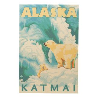Polar Bears & Cub - Katmai, Alaska Wood Print