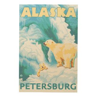 Polar Bears & Cub - Petersburg, Alaska Wood Print