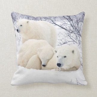 Polar Bears female and Two cubs 3 Cushion