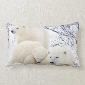 Polar Bears female and Two cubs 3 Lumbar Pillow