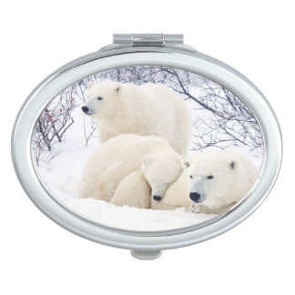 Polar Bears female and Two cubs 3 Travel Mirror