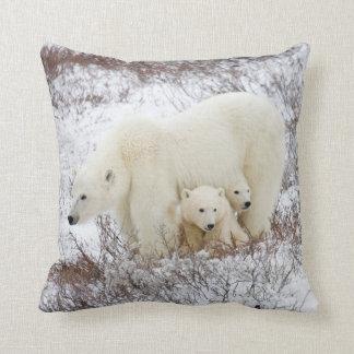 Polar Bears female and Two cubs Cushion
