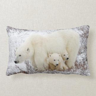 Polar Bears female and Two cubs Lumbar Cushion