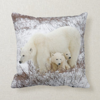 Polar Bears female and Two cubs Throw Pillow