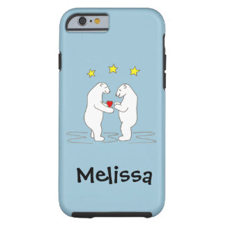 Polar Bears giving Heart and Yellow Stars Tough iPhone 6 Case