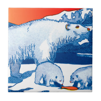 Polar Bears in Blue and Red Tile