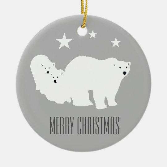Polar Bears Merry Christmas Ornament Decoration
