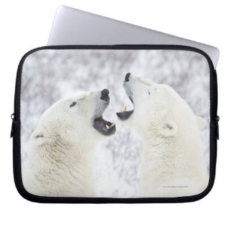 Polar Bears playing in the snow Laptop Sleeve