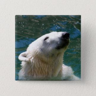 Polar bears smile 15 cm square badge