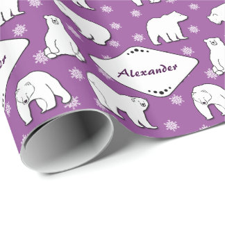 Polar Bears Snowflakes Monogrammed Purple Giftwrap Wrapping Paper