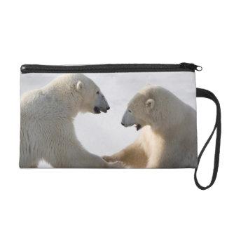 Polar Bears sparring Wristlet Purses