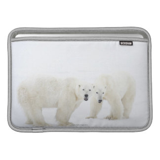 Polar Bears standing on snow after playing 2 Sleeve For MacBook Air