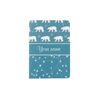 Polar Bears Twinkling Stars Personalized Passport Holder