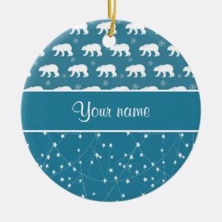 Polar Bears Twinkling Stars Personalized Round Ceramic Decoration