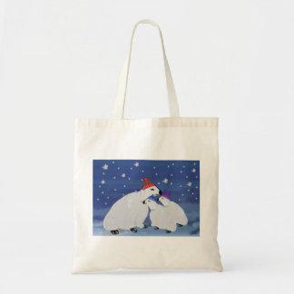 Polar Bears Winter Holiday Canvas Tote