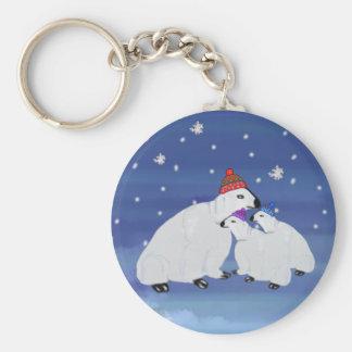 Polar Bears Winter Holiday Keychains