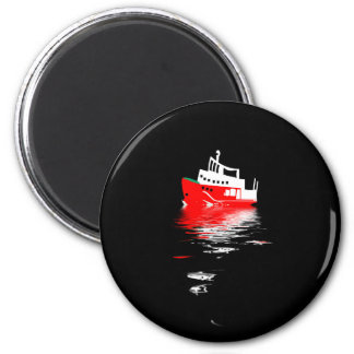 Polar research ship reflected in the night waters. 6 cm round magnet