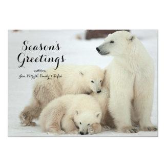 Polar She-bear With Cubs 13 Cm X 18 Cm Invitation Card