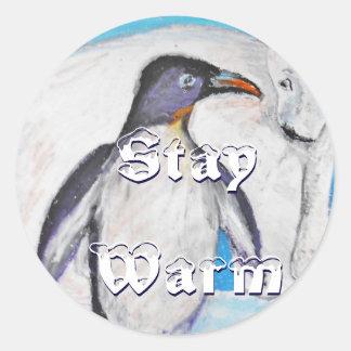 Polar Stay Warm Round Sticker