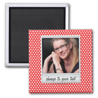 Polaroid photoframe on white & red polkadot fridge magnet