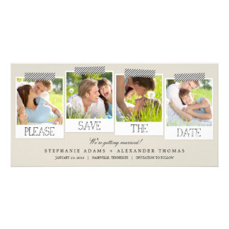 Polaroid Prints Save The Date Photo Cards - Khaki