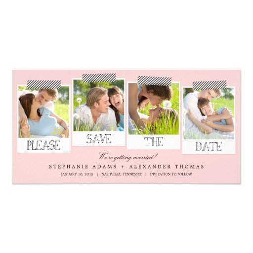 Polaroid Prints Save The Date Photo Cards - Pink Customized Photo Card