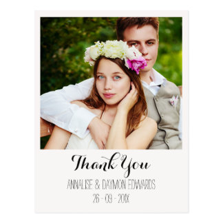 Polaroid Style Wedding Photo Thank You Postcard