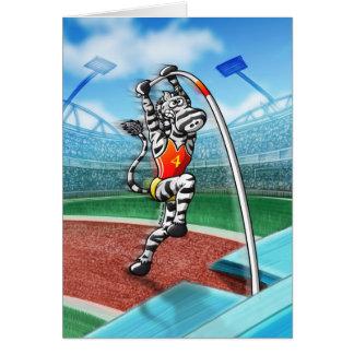Pole Vault Zebra Greeting Card