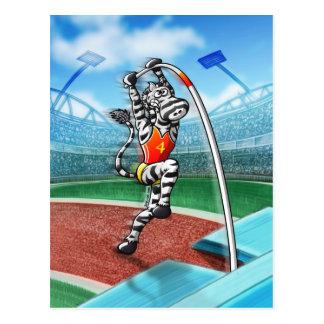 Pole Vault Zebra Postcard