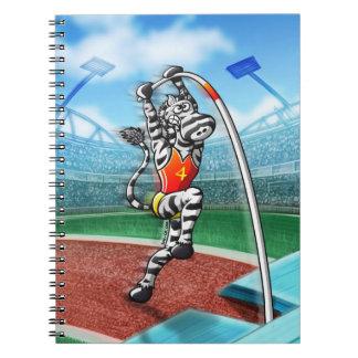 Pole Vault Zebra Spiral Note Book
