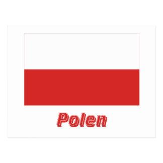 Polen Flagge mit Namen Postcard