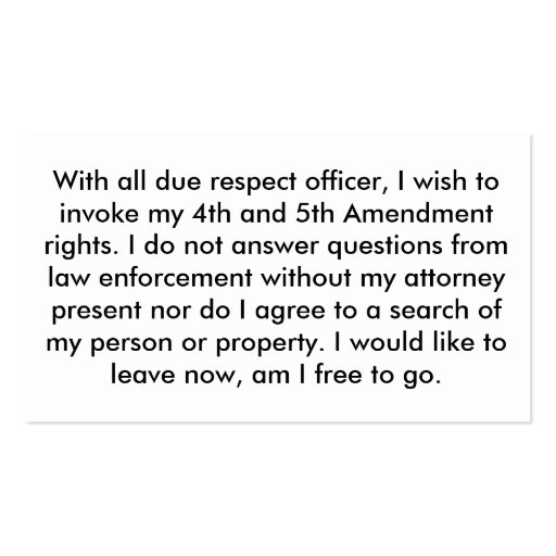 Police 5th Amendment Cards Business Card