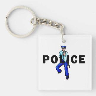 Police Action Logo Double-Sided Square Acrylic Key Ring