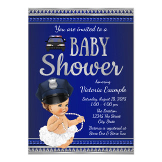 Police Baby Shower Invitations Girl
