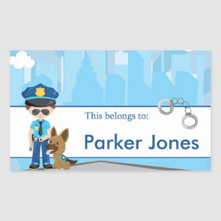Police Back to School Personalized Labels Rectangular Sticker
