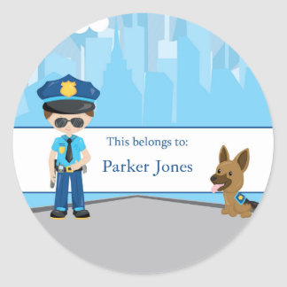 Police Back to School Personalized Round Stickers