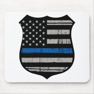 Police Badge Blue Line Mouse Mat