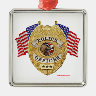 Police_Badge_Flags_Texturized Christmas Ornament