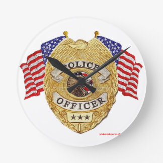 Police_Badge_Flags_Texturized Round Clock