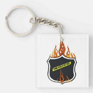 Police Badge Flames Double-Sided Square Acrylic Key Ring