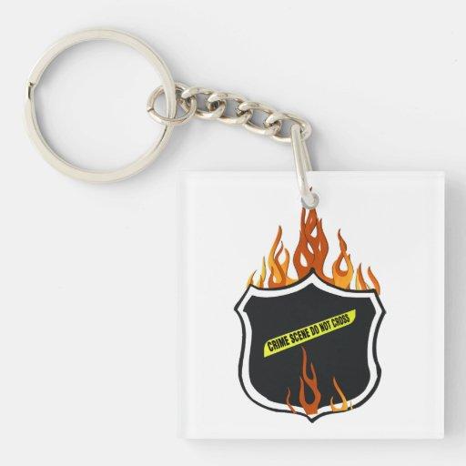 Police Badge Flames Acrylic Keychains