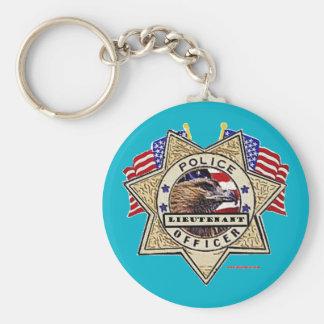 Police_Badge_Officer - Lt Basic Round Button Key Ring