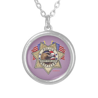 Police_Badge_Officer - Lt Round Pendant Necklace